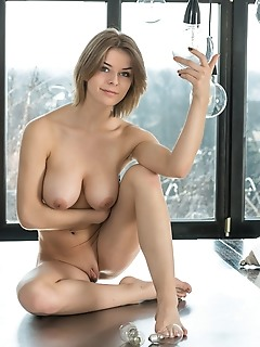 Yelena yelena a stripf off her clothes and shows off her magnificent breasts and smooth pussy