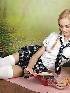 Cute model in skirt