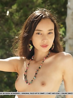 Djessy djessy displays her petite breasts and untrimmed bush without any hint of inhibitions