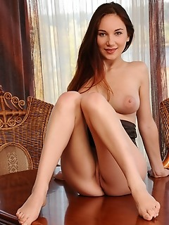 Ledona ledona bares her sexy body with large tits as she strips her corset on the pool table.