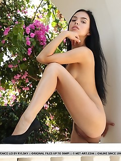Venice lei venice lei shows off her sexy legs and unshaven pussy in the veranda.
