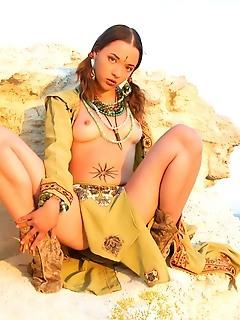 Beach tease by brunette