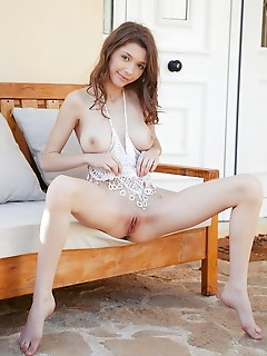 Mila azul mila azul flaunts her slender body with beautiful puffy tits and sweet pussy.