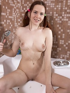 Naked in the bath tub