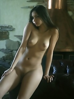 Long-haired brunette with refined poses and nubile body.