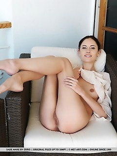 Sade mare sade mare strips on the chair as she bares her perky tits and wet yummy pussy.