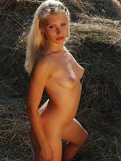 Blonde on hayloft