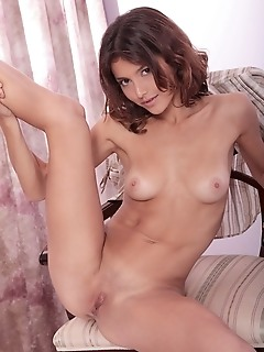 Slender new model with well-toned physique, perky breasts, firm ass, and svelte legs.