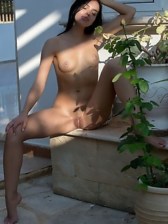 Venice lei venice lei bares her skinny body with small tits as she bares her hairy pussy.