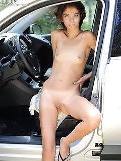 Fresh russian bride nude by the car