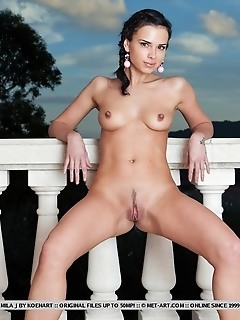Elegant and charming sweetheart with a pair of perfectly aroused breasts.