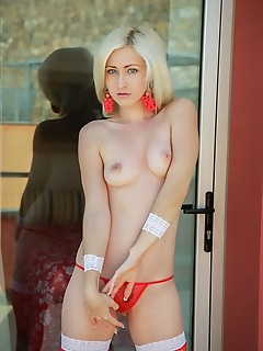 Janelle b janelle b in red fishnet stockings and matching thong panties and earrings