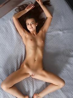 Juliette kross redhead juliette kross strips her sexy, black lingerie on the bed.