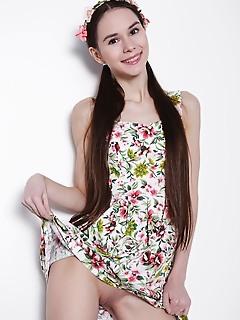 Brunette in cute dress