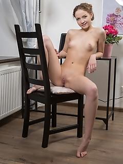 Faina bona faina bona strips on the chair baring her nubile body and small fish lips.