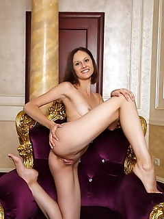 Sade mare sade mare displays her petite body and sweet pussy on the chair.