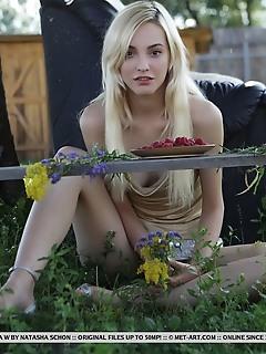 Kira w kira w bares her sexy, slender body as she strips outdoors.
