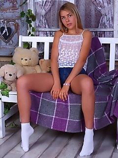 Cute girl in white socks