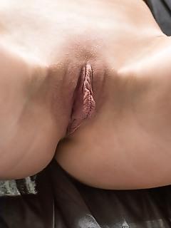 Helene helene displays her meaty pussy and big tits in the bathroom.
