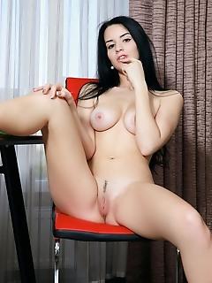 Lola marron lola marron strips on the chair baring her gorgeous body.