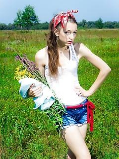 Gardener naked younger babes girl enjoy sun