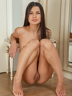 Marina joy the gorgeous marina joy proudly showcasing her long and slender physique with smooth and tanned skin