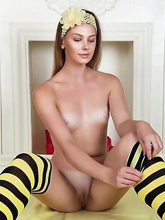 Posing in erotic socks