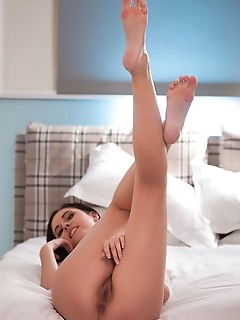 Sade mare sade mare strips by the bed as she spreads her legs wide open baring her sweet pussy.