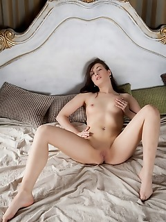 Vicky masone vicky masone displays her smooth, creamy body and sweet pussy on the bed.