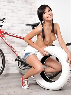Delightful girl posing nude